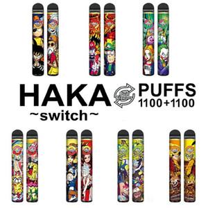원래 Haka 스위치 2 in 1 일회용 포드 장치 키트 950mAh 배터리 2200 퍼프 프리 빌딩 카트리지 더블 vape 펜 대 바 플러스