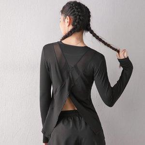 SEXY SPORTS SHIRT TOPS GYM FEMMES Femmes manches longues Hollow Out Back Mesh Fitness Chemises de yoga Loose Vêtements de sport Entraînement T-shirts