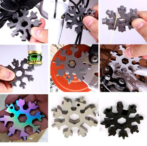 Snowflake Multi-Tool,Stainless Steel Multitool Card Combination Compact Portable Outdoor Products 18 in 1 Snowflake Tool Card BWB2611