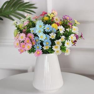 1 Букет Искусственные цветы Daisy Silk Поддельный цветок Флер с пластиковыми листьями Flores для DIY Home Garden Свадебное украшение