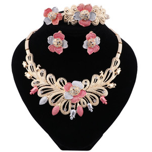 Nigerian Wedding African Costume Jewelry Set Dubai Flower Necklace Bracelet Earring Ring Jewelry Sets for Women Party