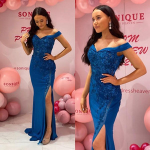 2021 Royal Blue Evening Dresses Off the Shoulder Elegant Side Slit Lace Applique Beaded Custom Made Plus Size Prom Party Gown