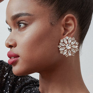 Fashion Jewelry Drop Earrings Iced Out Women Luxury Rhinestone Dangle Round Flower Big Statement Wedding Party Stud Earring Christmas Gifts