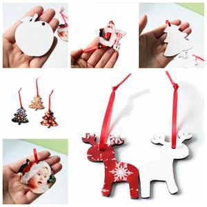 8 Styles Christmas Sublimation Ornament MDF Heat Transfer Printing Pendant Xmas Tree Wooden Blank Snowflake Decoration LJJP662