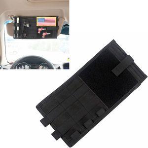 MOLLE Multifunction Car Organizer Pouch NYLON Sun Visor Point Pockets BLACK Documents Storage Bag Sunglasses   Cellphone   CD   Card Holder