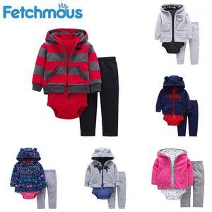 Fetchmous Kış Bebek Giysileri 3 adet / takım Yenidoğan Infantil Erkek Kız Çocuk Giyim Coat + Bodysuits + Pantolon Roupas De1