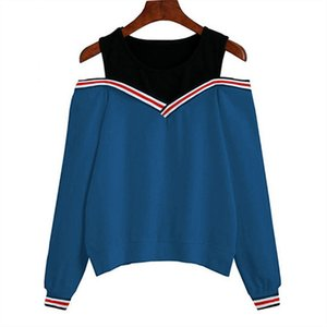 Aachoae donne fuori dalla spalla di svago del pullover casuale autunno manica lunga felpata Jumper Tops Outwear Sudadera Mujer 201012
