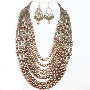 Moda 7 Rows Collana Orecchini Champagne Round Shell Simulated-Pearl Charms Charms Party Weddings Women Jewelry Set 19-27.5inch B1305