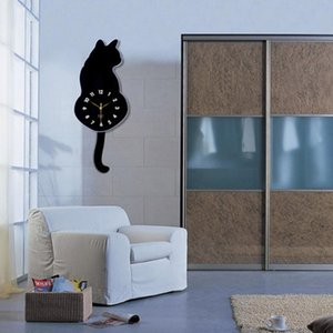 Cute Cat Quartz clocks Pendulum Clock Swinging Tail Wall Clock home Bedroom mirror Wall Quartz Needle Decor Watch Clocks G2
