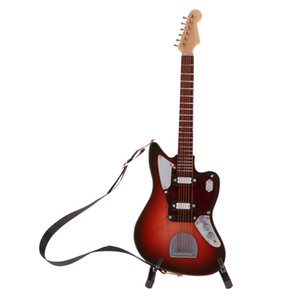 1 6 Scale Miniature Musical Instrument Model Come With Stand for Dollhouse Decoration Wooden Guitar Model #3 1019
