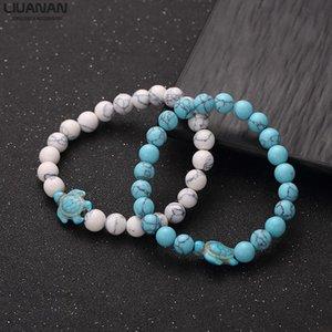Turtle Beads Bracelet for Women Men 8mm Natural Stone Elastic Friendship Bracelet piece pair Beach Jewelry Gift Summer Beach Sea