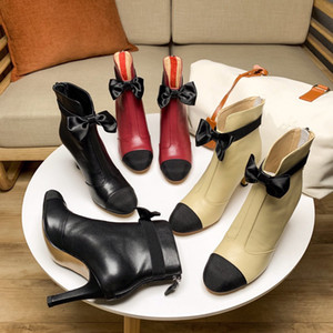 Women High Heel Boots Designer Shoes Martin Boots 100% Lambskin Leather Ankle Boots Lady Dress Shoes Australia with Box EU35-40