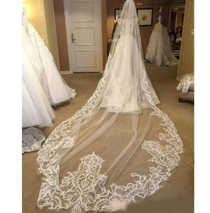White Ivory Wedding Veils Three Meters Long With Lace Applique Edge One Layer Cathedral Length Custom Made Designer Bridal Veil