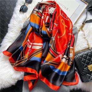 Spring and Autumn New Flower Printed Silk Scarves Ladies Fashion Bita Scarves Egruous temperament shawl