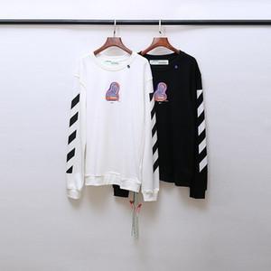 2020AW OFF otoño e invierno impresión en blanco OW deportivos casuales suelta cuello redondo con capucha los hombres y las mujeres largas de la manga Sudaderas 2027-10 + 2 + 3