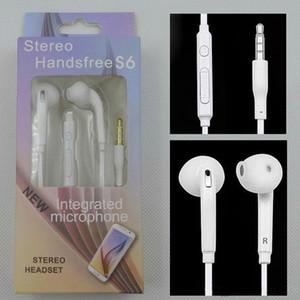 S6 S7 наушники наушники наушники наушники наушники для iPhone 6 6s гарнитура для разъема в ухе проводятся с помощью MIC регулятора громкости 3,5 мм белый с Retail