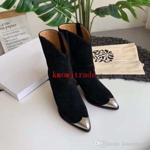 Original Box Paris Runway Isabel Lamsy Stiefel Marant Lamsy verschönerte Ankle Boots aus Leder Sleek Spitzschuh Stacked Konische Heel-Schuhe