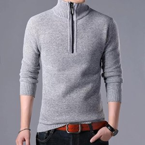Winter Fleece Sweaters Men Stand Collar Thick Warm Cashmere Wool Zipper Pullover Man Casual Knitwear Slim Fit Tops