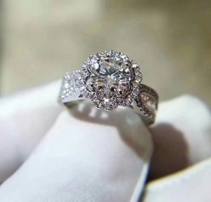 Lab Grown Diamond 1Ct Moissanite Ring White 9K,14K,18K Gold Sun Flower Luxury Group Setting Wedding Engagement Party Ring With Certificate