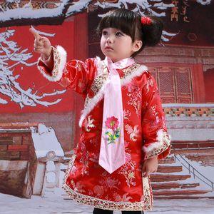 Año nuevo tradicional chino traje traje mascota traje de mascota para bebé recién nacido niño niño niña dragón impresión invierno vellón pelaje hanfu regalo de cumpleaños