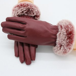 1 Pair Women PU Leather Suede Velvet Winter Driving Warm Gloves Fur Warm Outdoor Touch Screen Bow Gloves Mittens