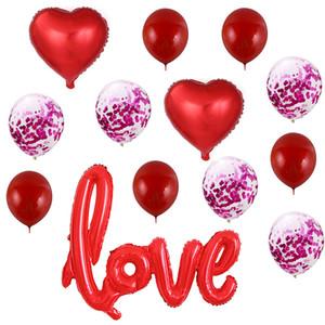 Romantische Latexballons herzförmige Liebesfolie-Ballon für Valentinstag-Hochzeit Geburtstag Dekorationen Kit JK2101XB