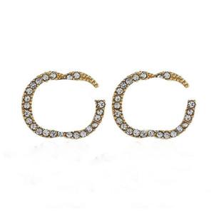 Diamante alfabetico borchie bling Lettere deliziose Danglers per le donne marea Moda Earrings concise 2 colori Donificati delicati