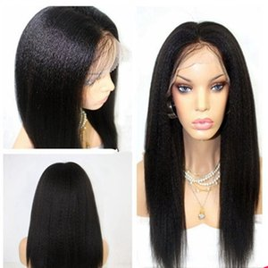 Fashion Long Yaki Straight Black Synthetic Lace Front Wig Glueless Heat Resistant Fiber For Black White Women Wigs with Baby Hair