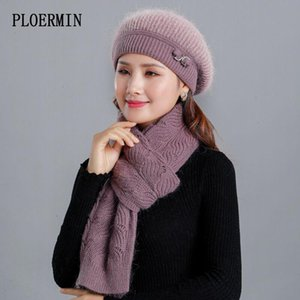Good Quality Women's Winter Beret Hat Sets Fur Beanies Hat and Scarf Lady Fashion Warm Knitted Hats
