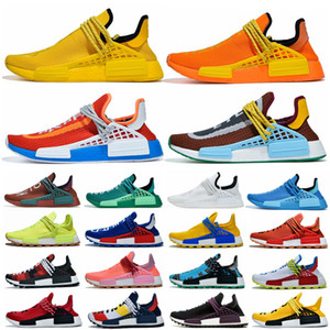 New Pharrell Williams Human Races NMD Raza Humana Mujeres Mujeres Running Shoes BBC Solar Pack Amarillo Azul Nerd Heart Mind Deportes Zapato al aire libre