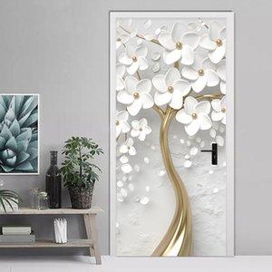 Puerta estéreo autoadhesivo puerta etiqueta engomada 3D de las flores blancas mural del papel pintado de la sala Dormitorio Decoración cartel etiqueta a prueba de agua 201009