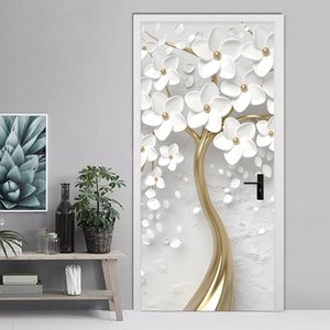 Stereo auto-adesivo Porta Etiqueta 3D Flores Brancas Mural Wallpaper Sala Quarto Home Decor Porta Poster Waterproof etiqueta 201009