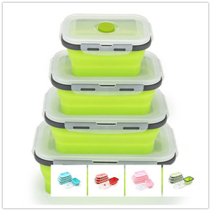 Silikon Katlanabilir Öğle Yemeği Kutusu Gıda Depolama Konteyner Bento BPA Ücretsiz Mikro Sallanınır Taşınabilir Piknik Kamp Dikdörtgen Açık Kutusu T200902