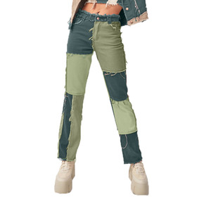 Two Tone Patchwork Women Fashion Tassel High Waist Baggy Jeans Womens 90s Casual Loose Denim Straight Leg Pants Pantalones