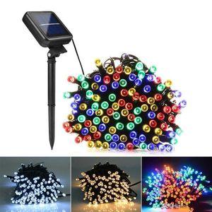 DHL 7M 12M 22M Lampes solaires LED String Lumières 100/200 LED Fairy Fairy Vacances Fêtes de Noël Guirlandes Solaire Lawn Lights Jardin Étanche