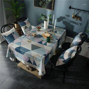 FSISLOVER Table de table décorative imperméable Nappe géométrique rectangulaire Table de salle à manger rectangulaire Tassel Tafelkleed Mesa Nappe1