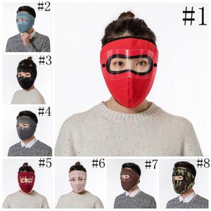 Маски для лица Black Winter Ski Mask Мужчины Женщины Открытый Защита лица Покрытие Earmuffs Велоспорт Мотоцикл Теплый ветрозащитный Headwear FWC3648l