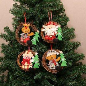 caliente Puerta disposición de la decoración de la escena viejo muñeco de nieve Árbol de navidad ornamento colgante 4 T2I51555 estilo