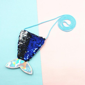 Tow-tone sequin mermaid bag for kids gift coin purse single-shoulder bag change purse cute fish tail shaped messenger bag GWF2584