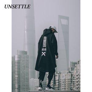 Unsettle japonesa con capucha para hombre de gran tamaño sudaderas con capucha larga capa de Hip Hop gótica Outwear la capa de Calle Harajuku Estilo Superior Masculina