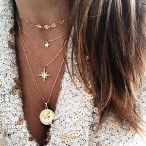 Kisswife Bohemian Crystal Pentagram Collana pendente Collana per le donne Fashion New Collar Jewelry