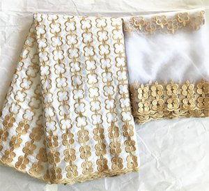 African bazin riche getzner 2019 high quality lace with nigerian lace fabric latest guinea brocade fabric 5+2yards lot
