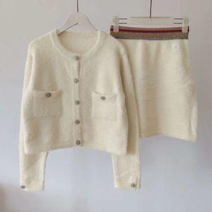 2019 milan Style knit top long Sleeve mini skirt Fashion autumn Women slim set