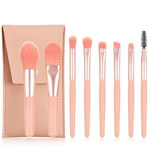 8pcs set Mini Makeup Brushes Set Matte Wooden Handle Portable Soft Hair Eyeshadow Foundation Concealer Blusher Makeup Brushes