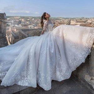 Elegant Sheer Jewel Neck Wedding Dress Long Sleeve Tulle Court Train Bridal Dress Vintage Lace Princess Wedding Gowns Vestido De Novia