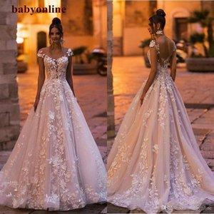 Elegante encaje lleno A Line Bohemain Vestidos de novia Casquillas Botones Cubiertos Botones Cubiertos Botones Boda Vestidos 3D Apliques Floral Bridal Vestido