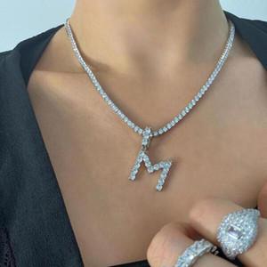 hip hop Gli uomini estate gioielli delle donne 2020 ha ghiacciato fuori zirconi 5 millimetri catena di tennis cz Bubble collana pendente della lettera di alfabeto Charm