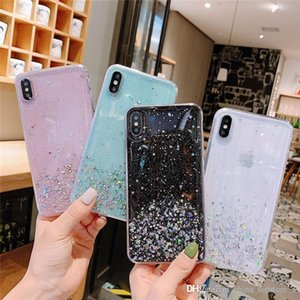 DHL 50pcs High Quality Star Glitter Powder Cover Bling TPU Soft Case For Iphone 11 11PRO Max Iphone XR Four Colors Optional
