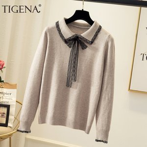 TIGENA Donne Maglioni e pullover autunno-inverno coreano Lace Turn-down Collar magliata Fmeale Jumper Maglieria da donne 200929