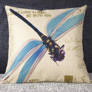 American Country Color Dragonfly Pintura al óleo ilustraciones Funda de almohada haciendo viejo Vintage Funda de almohada Lino Fibra Blend Sofa GWC3401
